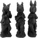 Poly rabbit Siegfried, 3 motifs, D10cm, H31cm, bla